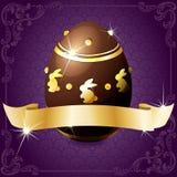 Bandera púrpura elegante con el huevo de chocolate