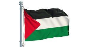 Bandera palestina que agita en el fondo blanco, animación representación 3d stock de ilustración