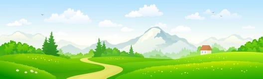 Bandera panorámica del bosque de la montaña imagenes de archivo