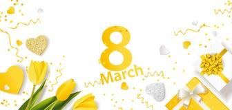 Bandera para el día internacional del ` s de las mujeres 8 de marzo con la decoración Fotos de archivo libres de regalías