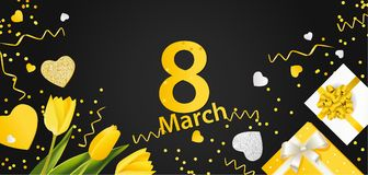 Bandera para el día internacional del ` s de las mujeres 8 de marzo con la decoración Fotografía de archivo