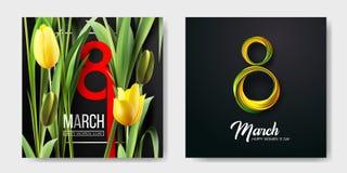 Bandera para el día para mujer internacional Bandera de la venta, tarjeta del descuento 8 de marzo Ilustración del vector