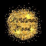 Bandera para el humor de la Navidad con textura del oro ilustración del vector