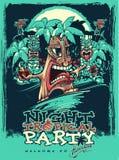 Bandera para el partido de Tiki Partido tropical ilustración del vector