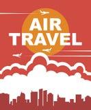 Bandera para el transporte aéreo con los aviones en el cielo stock de ilustración