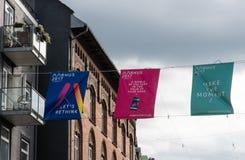 Bandera para la capital europea de la cultura 2017 en Aarhus Foto de archivo libre de regalías