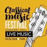 Bandera para la música clásica del festival con una guitarra Imagenes de archivo