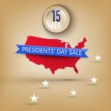 Bandera para la venta de Day de presidentes en los E.E.U.U. Imagen de archivo libre de regalías