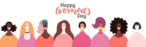 Bandera para mujer del día ilustración del vector
