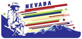 Bandera para Nevada los E.E.U.U. stock de ilustración