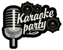 Bandera para un partido del Karaoke Fotografía de archivo