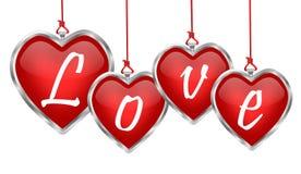 Bandera pendiente del amor del corazón brillante Fotografía de archivo
