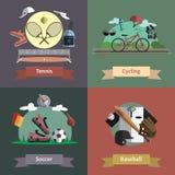 Bandera plana de la composición de los iconos del deporte 4 Foto de archivo
