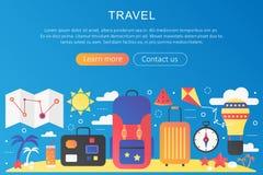 Bandera plana de moda de la plantilla del concepto de la aventura y de las vacaciones del viaje del viaje del color de la pendien Imagenes de archivo
