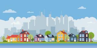 Bandera plana del paisaje urbano del diseño del pueblo suburbano ilustración del vector