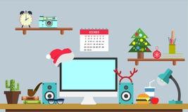 Bandera plana del web del lugar de trabajo de la Navidad Espacio de trabajo plano del ejemplo del diseño, conceptos para el negoc Imágenes de archivo libres de regalías