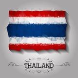 Bandera poligonal geométrica de Tailandia del vector Imagen de archivo