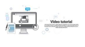 Bandera preceptoral video del web de Concept Modern Technology del redactor Fotos de archivo libres de regalías