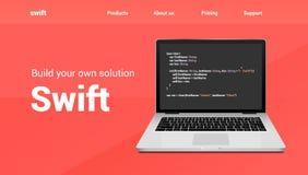 Bandera programada rápida de la tecnología del código Lengua rápida que codifica diseño de la página web en software del desarrol stock de ilustración