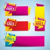 Bandera promocional de la venta fijada en colores vibrantes Imagenes de archivo