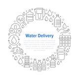 Bandera pura del círculo del vector del agua con la línea plana iconos La aguamarina filtra, líquido potable, vidrio, un vector m libre illustration