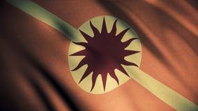 Bandera que agita anaranjada con el sol y la lanza, lazo inconsútil Emblema brillante, abstracto de la casa de Martell, juego de  foto de archivo libre de regalías