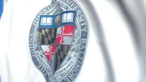 Bandera que agita con el emblema de la Universidad John Hopkins, primer Animación loopable editorial 3D libre illustration