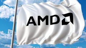 Bandera que agita con el logotipo de Advanced Micro Devices AMD Representación de Editoial 3D Imágenes de archivo libres de regalías