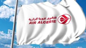 Bandera que agita con el logotipo de Air Algerie representación 3d Imagen de archivo libre de regalías