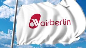 Bandera que agita con el logotipo de Air Berlin representación 3d Fotografía de archivo