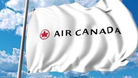 Bandera que agita con el logotipo de Air Canada representación 3d Fotos de archivo