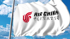 Bandera que agita con el logotipo de Air China representación 3d Foto de archivo