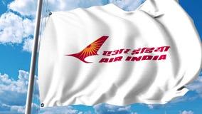 Bandera que agita con el logotipo de Air India representación 3d Imágenes de archivo libres de regalías