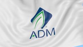 Bandera que agita con el logotipo de Archer Daniels Midland Animación del editorial del lazo 4K de Seamles stock de ilustración