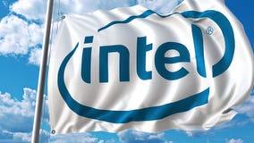 Bandera que agita con el logotipo de Intel contra el cielo y las nubes Representación editorial 3D stock de ilustración