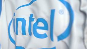 Bandera que agita con el logotipo de Intel Corporation, primer Representaci?n editorial 3D ilustración del vector