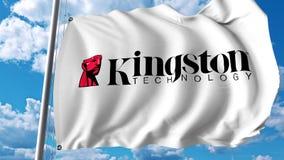 Bandera que agita con el logotipo de Kingston Technology Representación de Editoial 3D Fotos de archivo libres de regalías