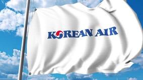 Bandera que agita con el logotipo de Korean Air representación 3d Fotografía de archivo libre de regalías