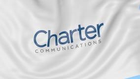 Bandera que agita con el logotipo de las comunicaciones de la carta Animación del editorial del lazo 4K de Seamles ilustración del vector