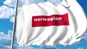 Bandera que agita con el logotipo de Norwegian Air Shuttle representación 3d Imagenes de archivo