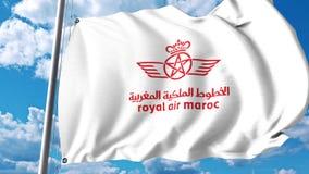 Bandera que agita con el logotipo de Royal Air Maroc representación 3d Foto de archivo