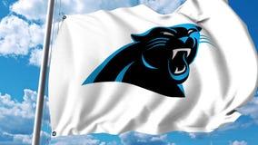 Bandera que agita con el logotipo profesional del equipo de Carolina Panthers Representación editorial 3D Fotos de archivo
