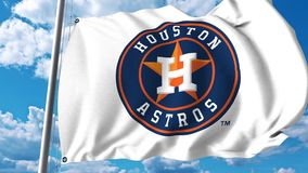 Bandera que agita con el logotipo profesional del equipo de Houston Astros clip del editorial 4K stock de ilustración