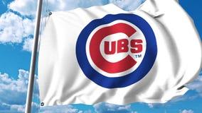 Bandera que agita con el logotipo profesional del equipo de los Chicago Cubs Representación editorial 3D Foto de archivo