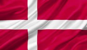 Bandera que agita con el viento, de Dinamarca ejemplo 3D Fotos de archivo libres de regalías