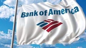 Bandera que agita con la Bank of America el logotipo contra el cielo y las nubes Representación editorial 3D Foto de archivo libre de regalías