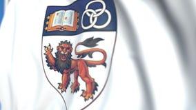 Bandera que agita con la universidad nacional del emblema de Singapur, primer Animación loopable editorial 3D stock de ilustración
