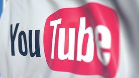 Bandera que agita con YouTube, logotipo del LLC, primer Animación loopable editorial 3D stock de ilustración