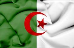Bandera que agita de Argelia stock de ilustración