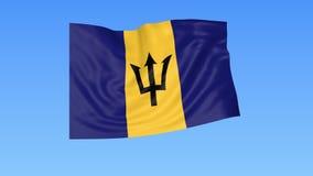 Bandera que agita de Barbados, lazo inconsútil Tamaño exacto, fondo azul Parte de todos los países fijados 4K ProRes con alfa ilustración del vector